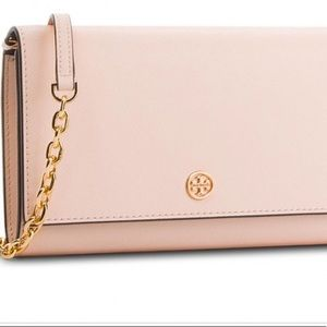 Tory Burch Robinson Chain Wallet Pale Apricot
